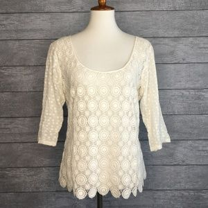 Lucky Brand Crochet Lace Scoop Neck Blouse Size M